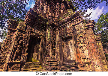 October 11, 2014: Ancient stone temple in the Ta Prohm temple in Siem Reap, Cambodia