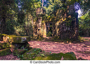 October 11, 2014: Stone temple in the Ta Prohm temple in Siem Reap, Cambodia
