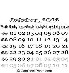 October 2012 monthly calendar