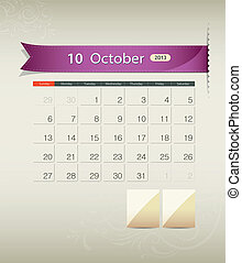October 2013 calendar ribbon design, vector illustration