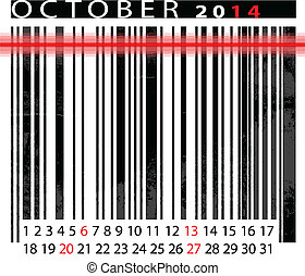 OCTOBER 2014 Calendar, Barcode Design. vector illustration