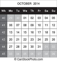 October 2014 Calendar Planner with number for each Weak