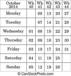 October 2014 Calendar with number for each Weak