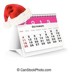 October 2015 desk calendar