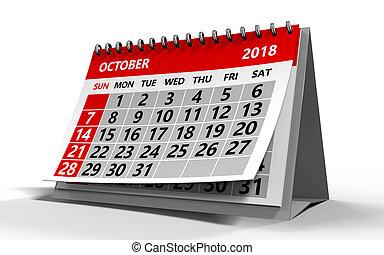 october 2018 calendar - 3d illustration of october 2018...