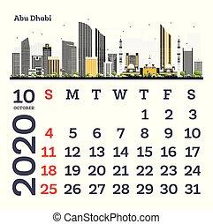 October 2020 Calendar Template with Abu Dhabi City Skyline.
