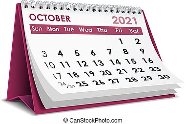 October 2021 Calendar - 3D desktop calendar October 2021 in ...