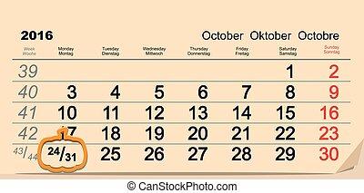October 31 2016 Halloween. Date of wall calendar and...