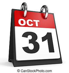 October 31. Calendar on white background. 3D illustration.