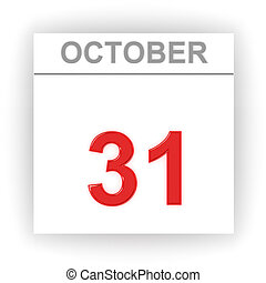 October 31. Day on the calendar. 3d
