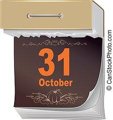 October 31 Halloween. Black Sheet tear off calendar....
