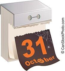 October 31 Halloween calendar - October 31 Halloween. Black...