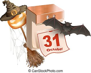 October 31 holiday of Halloween. Tear-off calendar....