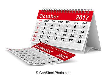 october., aislado, calendar., año, 2017, imagen, 3d
