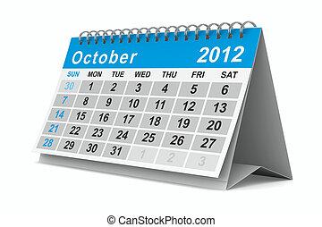 october., aislado, calendar., año, 3d, imagen, 2012