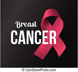 October awareness month symbol. Cancer baner. Pink ribbon with white text on black background. Vector illustration.