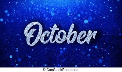 October Blue Text Wishes Particles Greetings, Invitation, ...