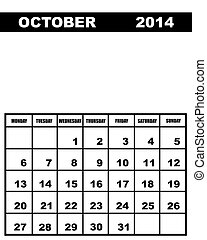 October calendar 2014 isolated on white