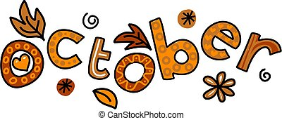 October Clip Art - Whimsical cartoon text doodle for the ...