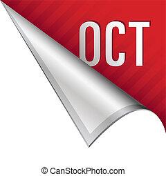 October corner tab - October calendar month icon on vector...