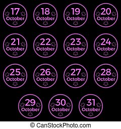 October date, date collection of October in magenta color