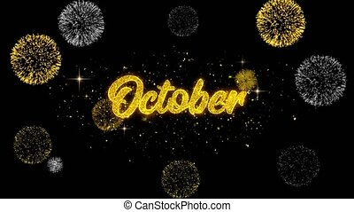 October Golden Text Blinking Particles with Golden Fireworks...