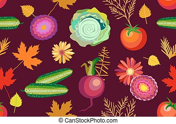 October harvest. Seamless vector pattern with vegetables, flowers and leaves.
