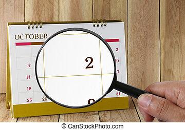 october., konzerv, magasztalás, hónap, naptár, szám 2, néz, dátum, kéz, összpontosít, pohár, ön