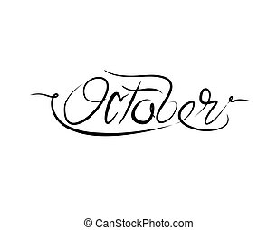 October Lettering Text on white background in vector illustration