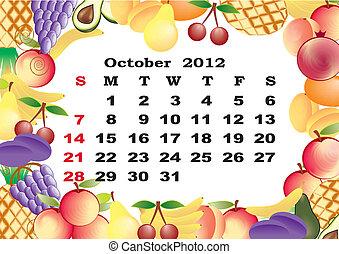 October - monthly calendar 2012 in colorful frame