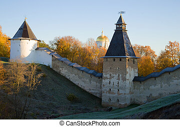 October morning at the walls of the Pskovo-Pechersky monastery. Pskov region, Russia