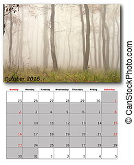 october nature calendar page layout
