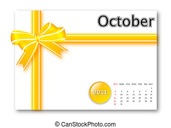 October of 2011 calendar