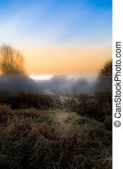 The misty October morning covered with a white veil a frosty frosted ground before the dawn