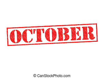 OCTOBER Rubber Stamp over a white background.