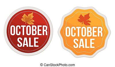 October sale stickers set