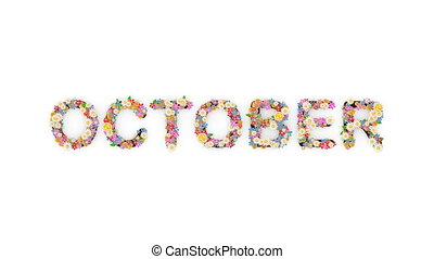 "october."", texte, animation, mois, calendrier, ""floral"