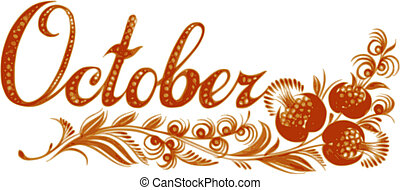 October name of the month, hand drawn, illustration in Ukrainian folk style