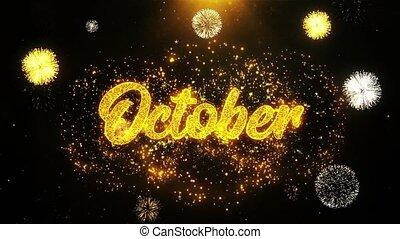 October Wishes Greetings card, Invitation, Celebration...