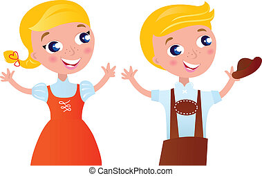 Octoberfest bavarian boy and girl isolated on white -...