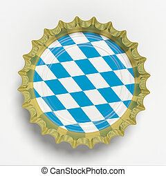 Octoberfest, Beer cap with Bavaria flag isolated on white background, top view. 3d illustration