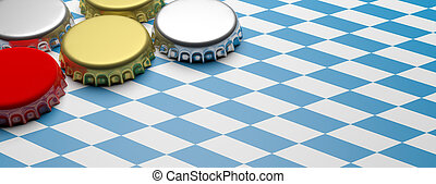 Octoberfest, Beer caps on Bavaria flag background, banner, copy space. 3d illustration