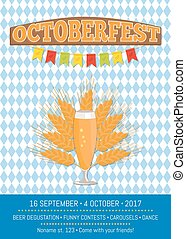 Octoberfest Creative Poster with Information Beer -...