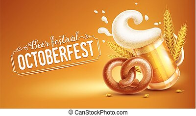 Octoberfest festival banner with beer pretzel and wheat