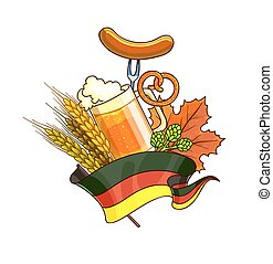Octoberfest festival cartoon design with glass of beer,...