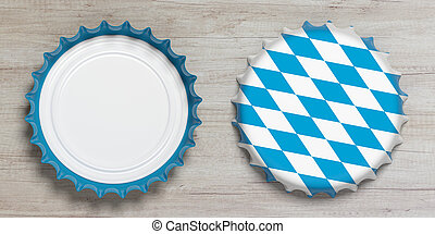 Octoberfest, Front and back view of beer caps with Bavaria flag isolated on wooden background, top view. 3d illustration