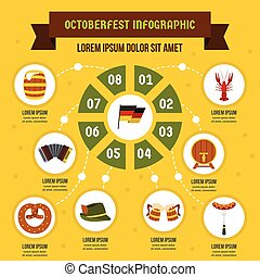 Octoberfest infographic concept, flat style