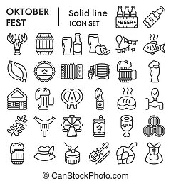 Octoberfest line icon set, beer festival symbols collection, vector sketches, logo illustrations, german celebration signs linear pictograms package isolated on white background, eps 10.