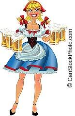 octoberfest, niña, cerveza, rubio