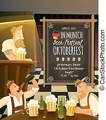 octoberfest, pub, illustrazione